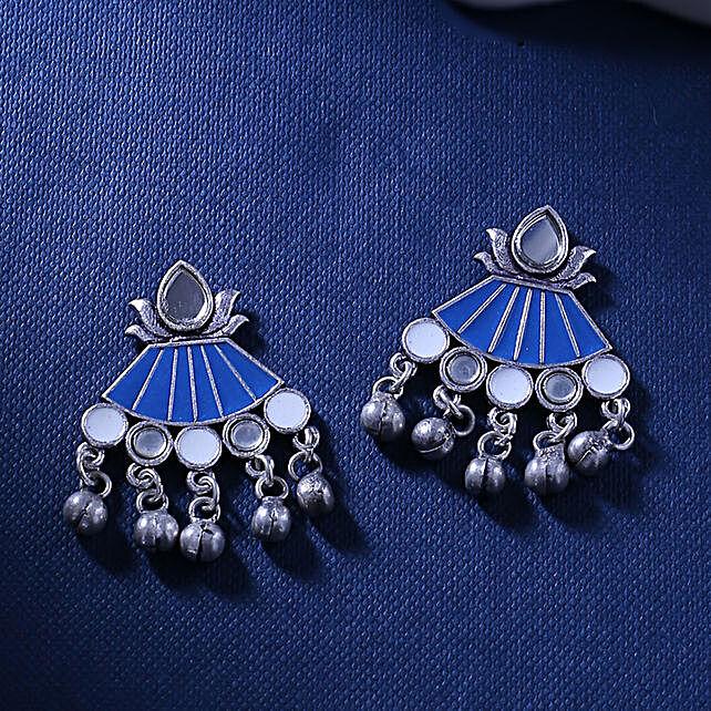 Ethnic Oxidized Silver Earrings