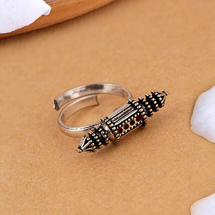Oxidized Silver Love Scroll Ring