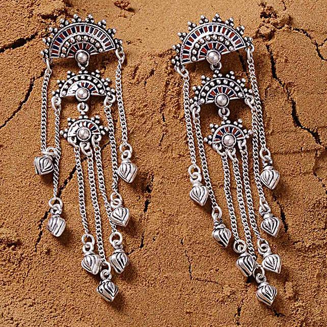 Silver Plated Mandala Tassel Earrings