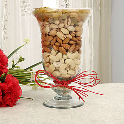 Dry fruits in a glass vase:Sargi For Karwa Chauth