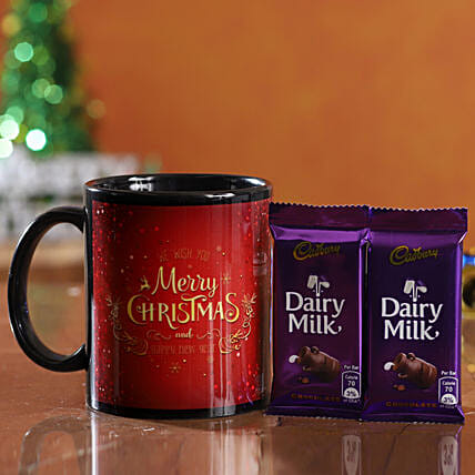 christmas theme mug with chocolates