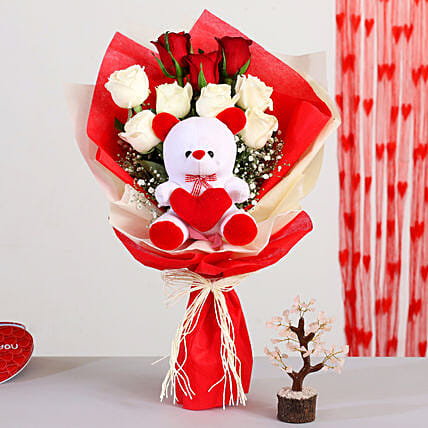 White & Red Roses Bouquet With Rose Quartz Wish Tree