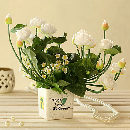 online White Artificial Flowers In Go Green Pot