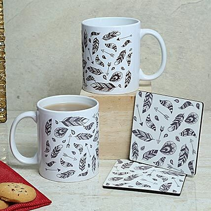 Pair of tea coaster and ceramic printed white mug