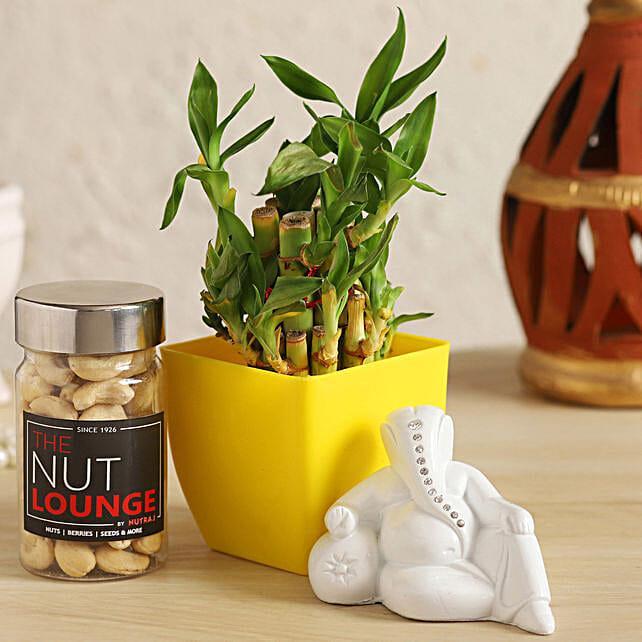 White Ganesha With Lucky Bamboo & Cashews