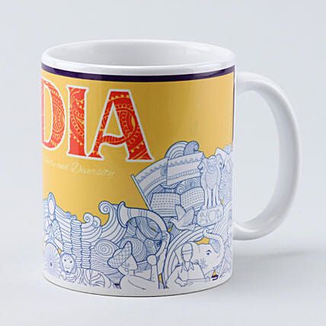 white india printed mug