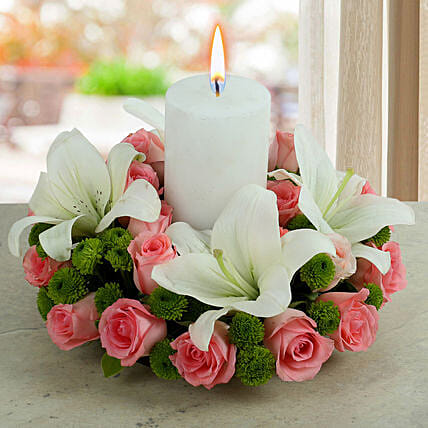 Candle Flower Arrangement