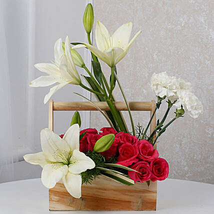 White N Pink Floral Wooden Arrangement