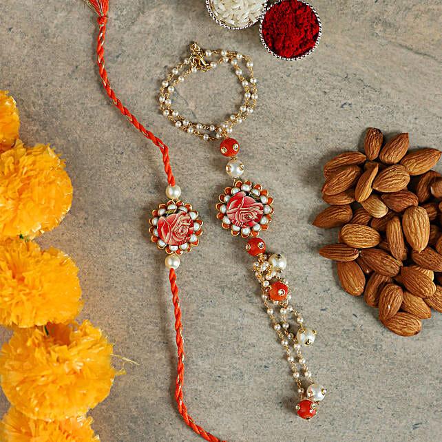 white n orange pearl lumba rakhi set:Send Bracelet Rakhi