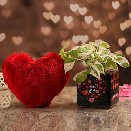 White Pothos Plant In Love You Vase & Red Heart:Send Soft toys to Hyderabad