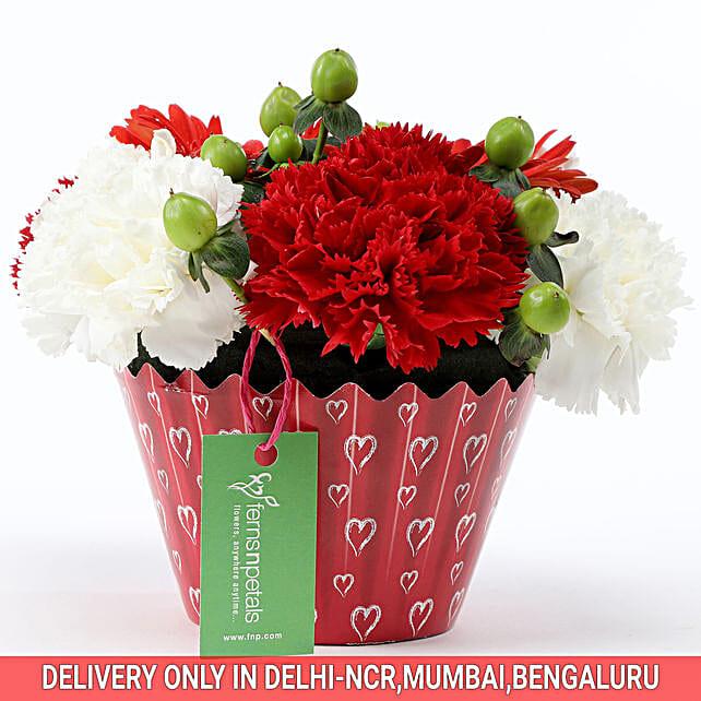Order Online White & Red Floral Arrangement
