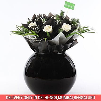 Send Online White Roses & Gypsophila In Fish Bowl