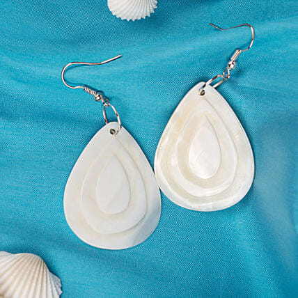 White shell teardrop Dangle Earrings:Romantic Gifts for Anniversary