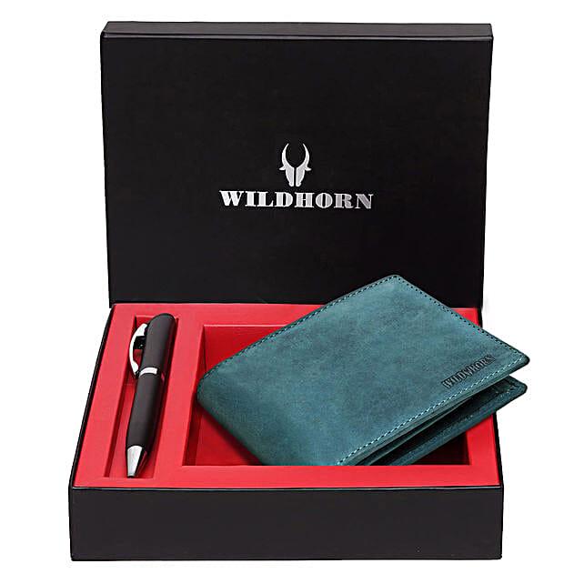 Wildhorn Leather Mens Wallet Set Blue