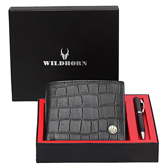 Wildhorn Mens Leather Wallet Set Black