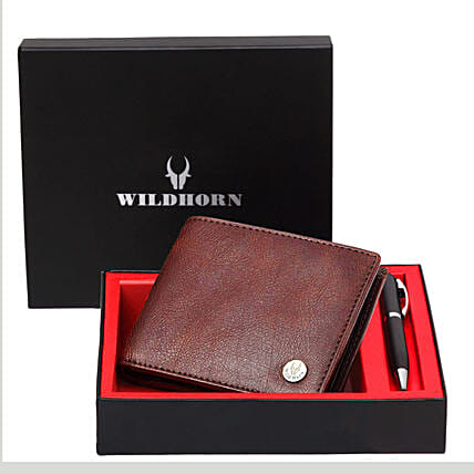 Wildhorn Pure Leather Wallet Gift Set Brown
