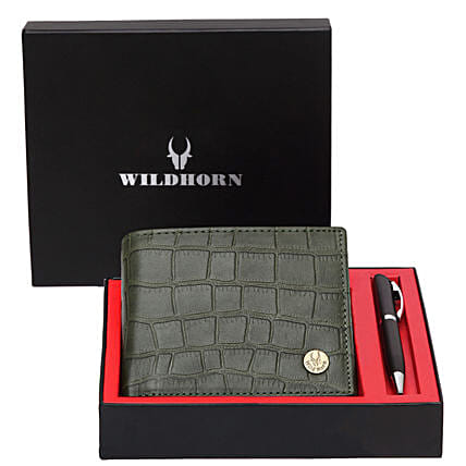 Wildhorn Pure Leather Wallet Set Green