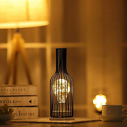 Wine Bottle LED Night Lamp Hollow Iron:Funny Gifts