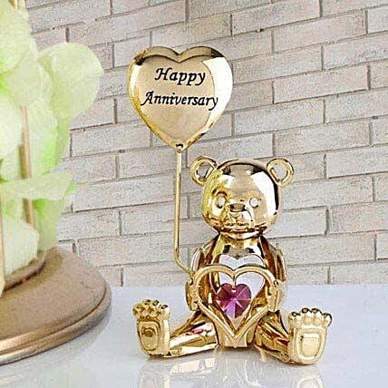 Swarovski happy anniversary greeting bear:Gold Plated Gifts
