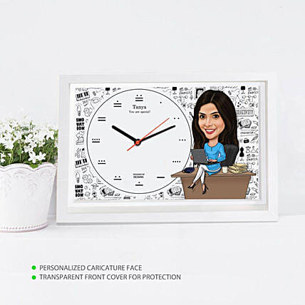Working Women Caricature Wall Clock