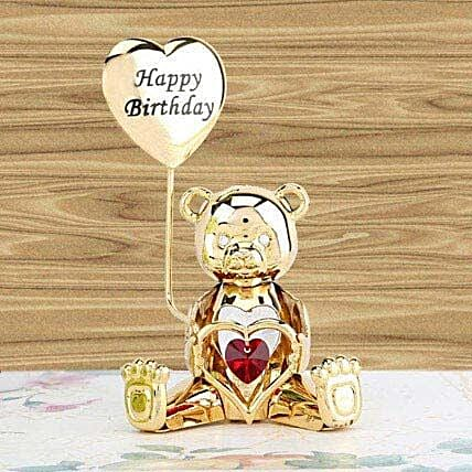 Swarovski happy birthday greeting bear:Gold Plated Gifts