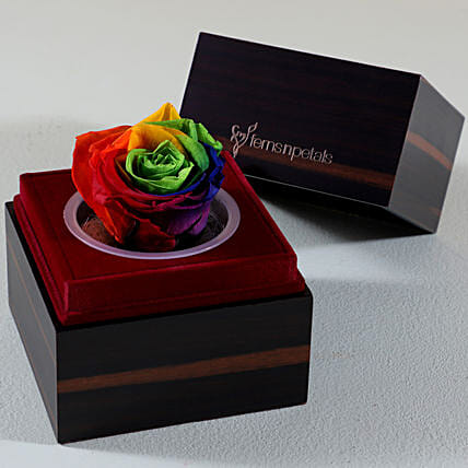 Wooden Box With Multicolour Forever Rose online