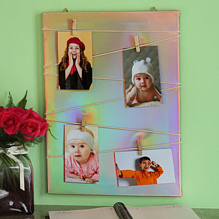 Wooden Clip Style Pink Photo Frame