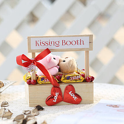 Wooden Kissing Booth With Chocolates