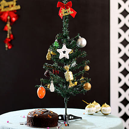 Christmas Tree and Plum Cake for Friends