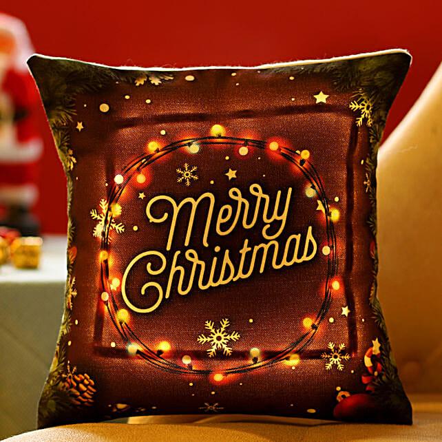 Online Xmas Wishes LED Cushion
