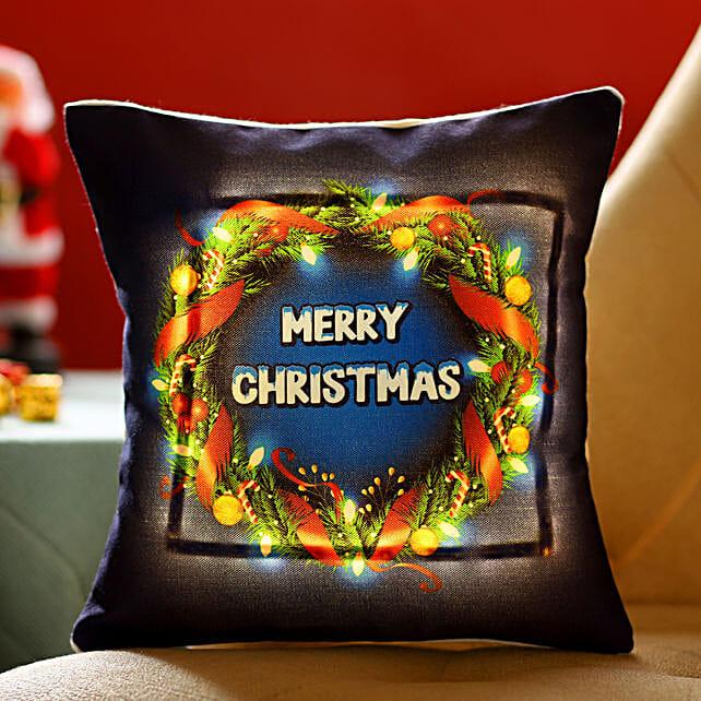 Online Xmas Wishes Wreath Printed LED Cushion