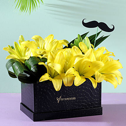 yellow lilies flower box arrangement online