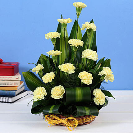 Yellow Carnations Cane Basket Online:Send Carnations
