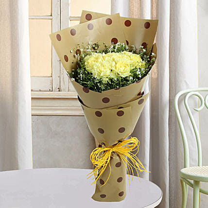 Bouquets Of Yellow Carnations:Valentines Day Carnations