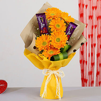 Yellow Gerberas Bouquet With Dairy Milk Fruit N Nut