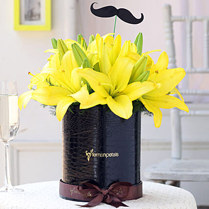 Yellow Lilies Box Online for Him:Grand Parents Day Gifts