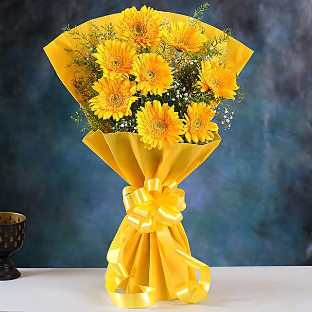 Yellow Mystique Gerbera Blossoms:Gerberas Flower