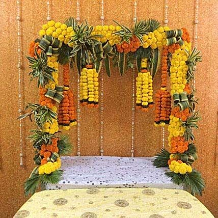 Yellow N Orange Marigold Decoration:Janmashtami Gifts