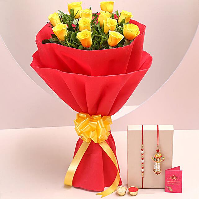 Online Yellow Roses Bouquet & Bhaiya Bhabhi Rakhi