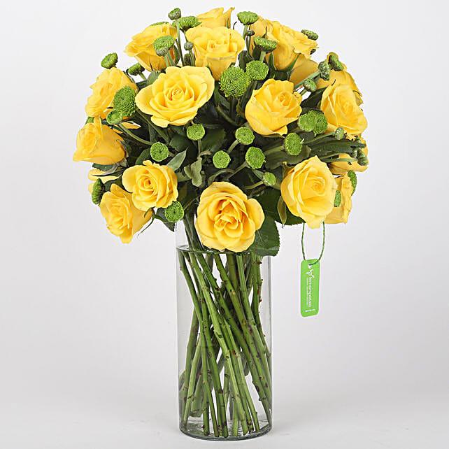 yellow roses n attractive vase arrangement for her