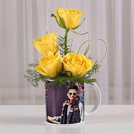 yellow roses in printed coffee mug:Flowers N Personalised Gifts