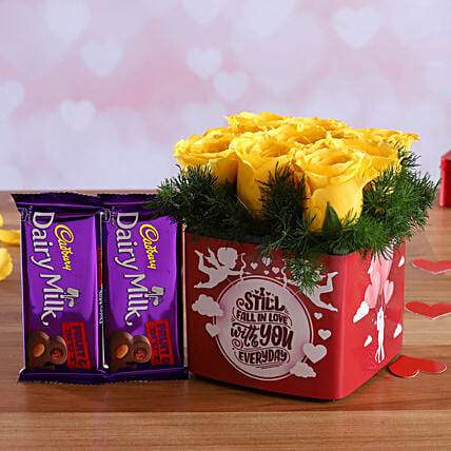Yellow Roses In Sticker Vase and Cadbury Fruit N Nut