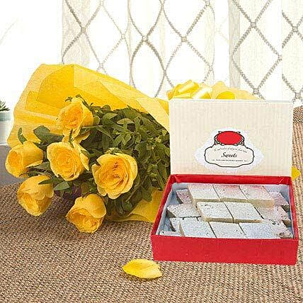 Yellow Roses N Kaju Katli - Bunch of 6 Yellow Roses with Kaju Katli 500gms.