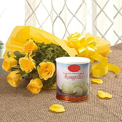 Yellow Roses N Rasgulla - Bunch of 6 Yellow Roses with Rasgulla 1kg.