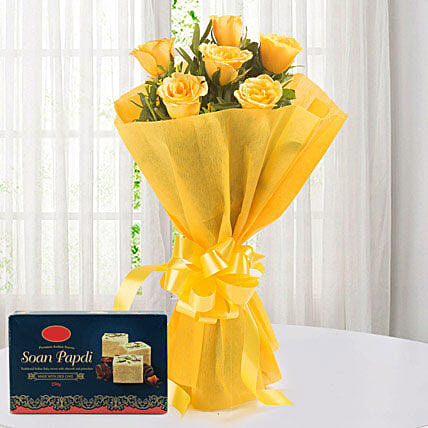 Yellow Roses N  - Bunch of 6 Yellow Roses with Soan Papdi 250gms.