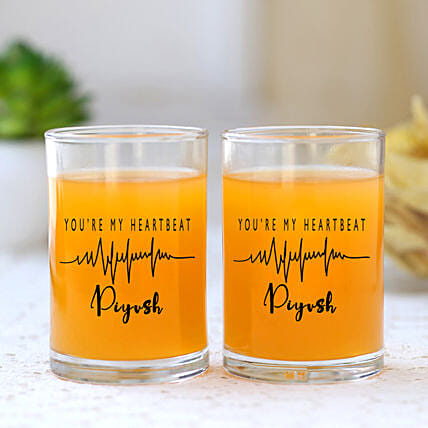 You Are My Heartbeat Personalised Juice Glass Set Of 2
