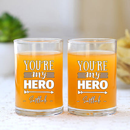 You Are My Hero Personalised Juice Glass Set Of 2