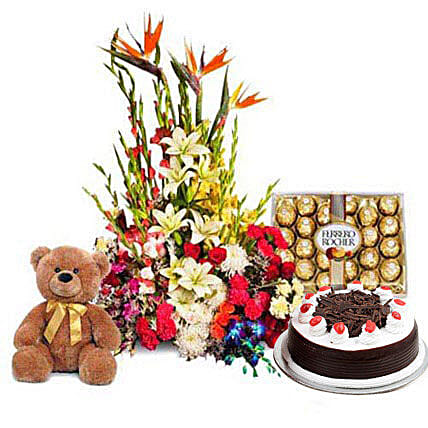 You Deserve the Best - One feet tall from Archies, 1kg Black forest cake from 5 star Hotel, 300gm Ferrero Rocher Chocolate pack, a designer arrangement of 100 exotic and seasonal flowers.:Cake and Teddy Bear Delivery