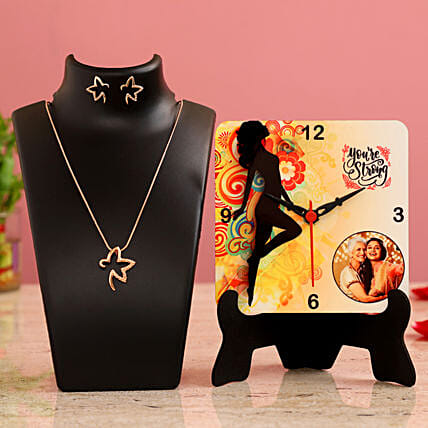 You re Strong Personalised Table Clock Necklace Set Hand Delivery:Womens Day Combos