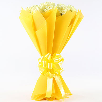 Sunny Delight - Bunch of 12 Yellow Carnations.:Gifts for Clients